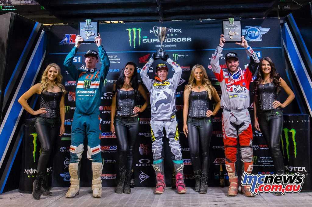 250SX Class Showdown Main Event Results - Indianapolis Jeremy Martin (Honda) Adam Cianciarulo (Kawasaki) +4.128 Luke Renzland (Yamaha) +5.412