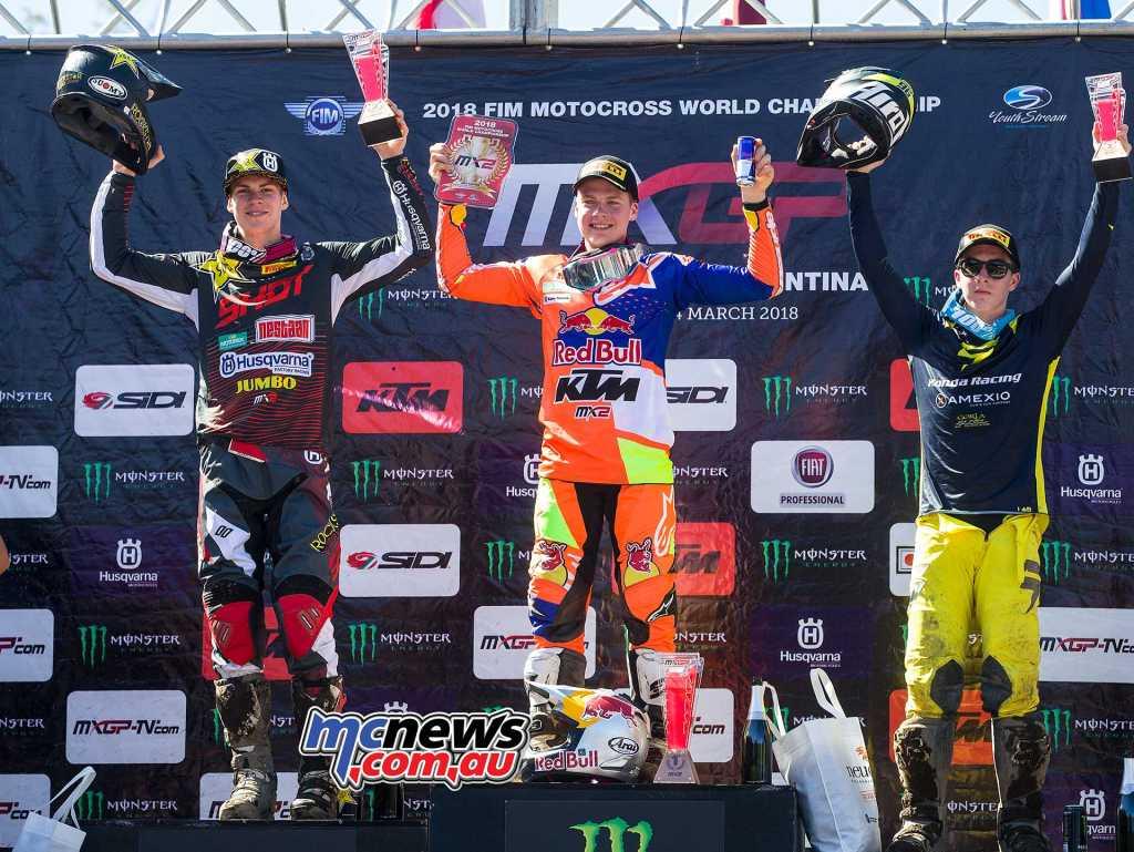 MX2 Overall Top Ten Pauls Jonass (LAT, KTM), 50 points Thomas Kjer Olsen (DEN, HUS), 42 p. Hunter Lawrence (AUS, HON), 37 p.