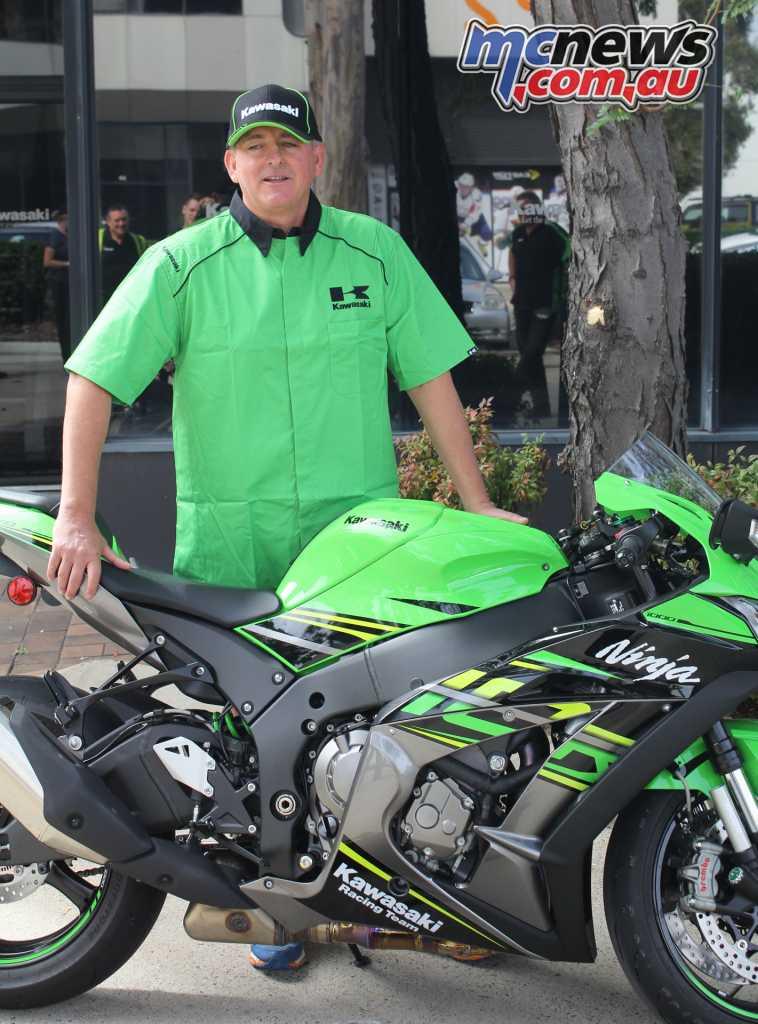 Ben Felten picking up his Kawasaki ZX-10R from Kawasaki