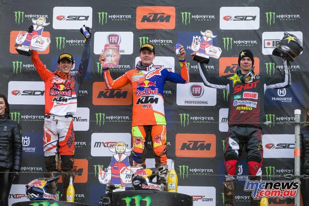 The MX2 podium saw Pauls Jonass on the top step from Jorge Prado and Thomas Kjer Olsen
