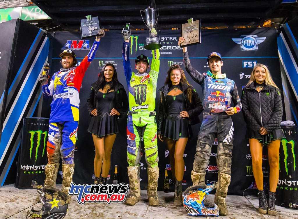 450SX Class Results Eli Tomac, Cortez, Colo., Kawasaki Jason Anderson, Rio Rancho, N.M., Husqvarna Marvin Musquin, Clermont, Fla., KTM