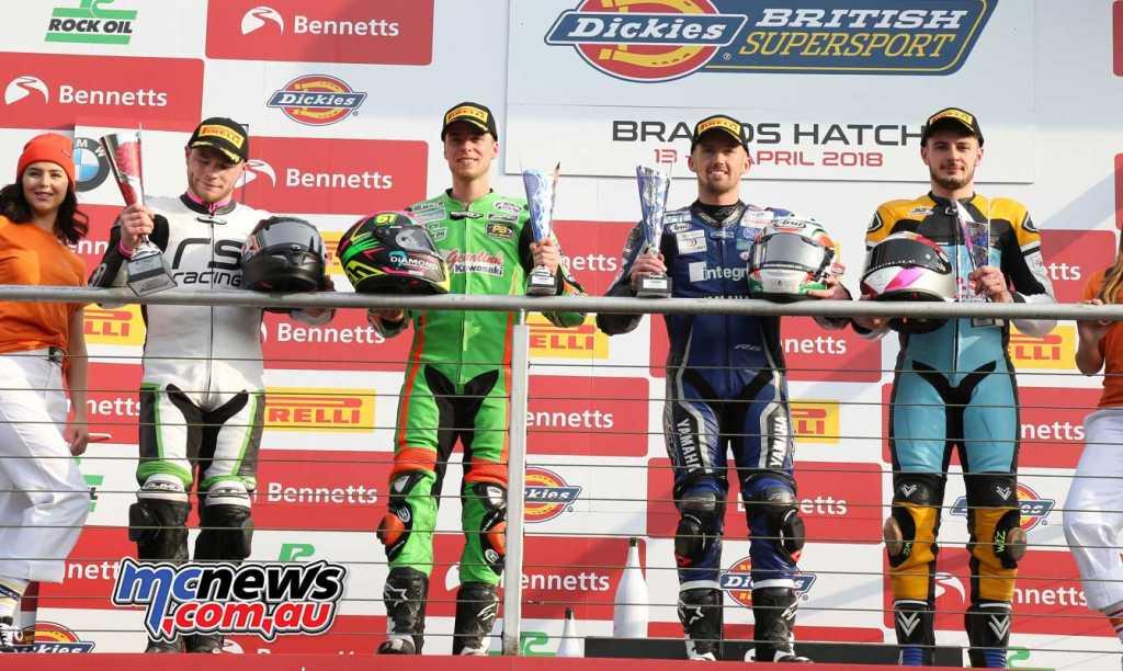 BSB Supersport Sprint Race Brands Hatch Jack Kennedy (Integro Yamaha) Ben Currie (Gearlink Kawasaki) +0.006s Jamie Perrin (Slidecodor/ Yamaha) +4.584