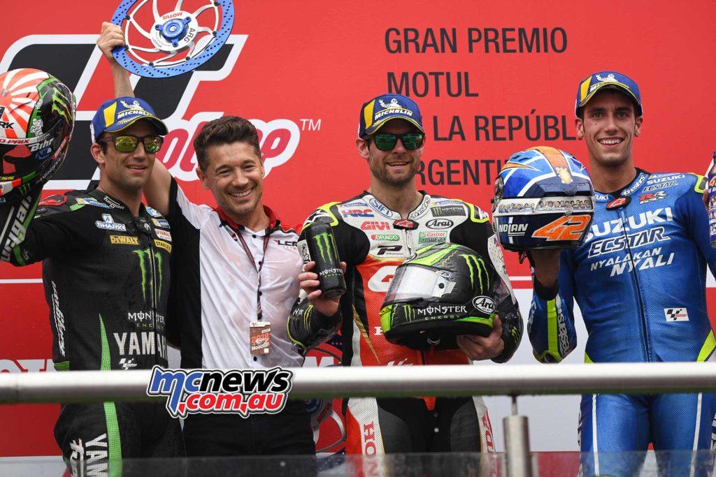 2018 MotoGP Round Two Argentina Race Results Cal CRUTCHLOW LCR Honda CASTROL 40'36.342 2. Johann ZARCO Monster Yamaha Tech 3 +0.251 3. Alex RINS Team SUZUKI ECSTAR +2.501