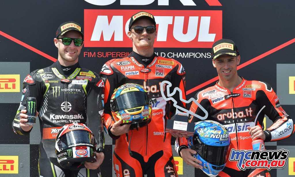#AragonWorldSBK at MotorLand Aragon: Race 2 Chaz Davies Ducati GBR 33'29.519 Jonathan Rea Kawasaki GBR 00'01.184 Marco Melandri Ducati ITA 00'04.584