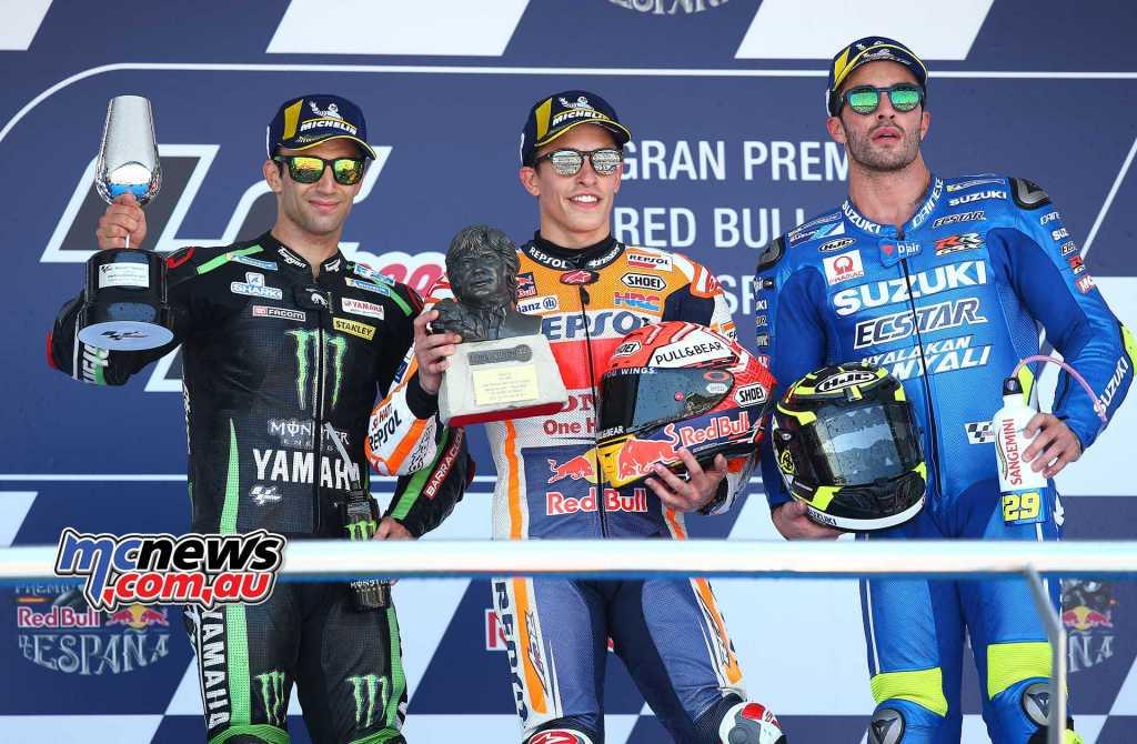 MotoGP Race Results Marc MARQUEZ SPA Honda 159.2 Johann ZARCO FRA Yamaha 158.9 +5.241 Andrea IANNONE ITA Suzuki 158.7 +8.214