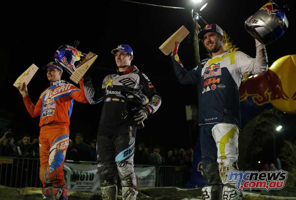 World Enduro Super Series - Round One - Extreme XL Lagares in Portugal - Endurocross - Podium - Billy Bolt 1st - Jonny Walker 2nd - Manuel Lettenbichler 3rd