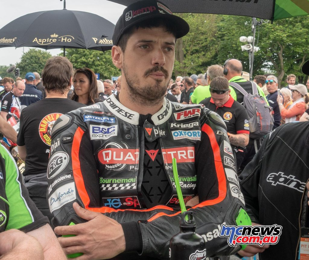 James Hillier on the grid ahead of the Senior TT