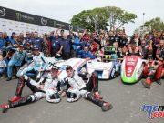 Sidecar TT winners Ben & Tom Birchall centre alongside runner ups