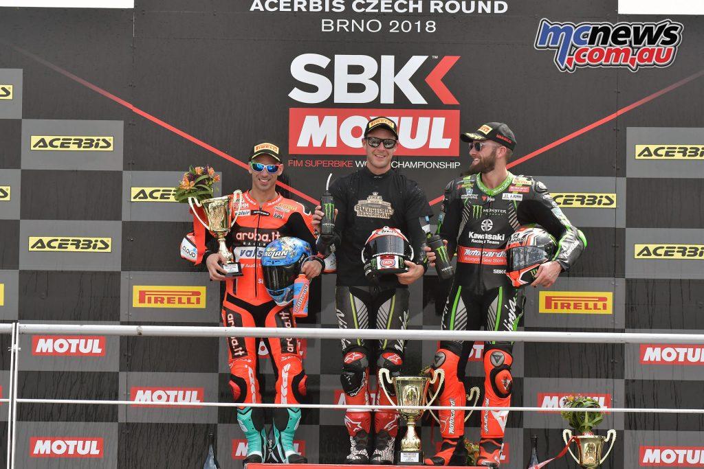 WorldSBK 2018 - Round 7 Brno - Race 1 - Podium, Melandri, Rea, Sykes