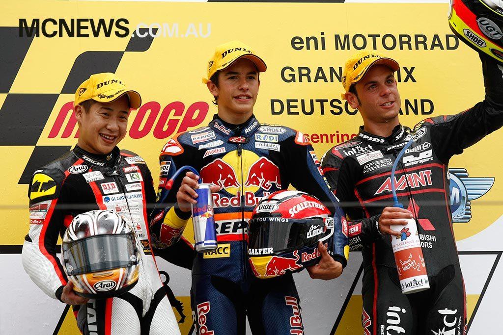 MotoGP cc Podium Marquez Tomoyoshi Koyama Cortese