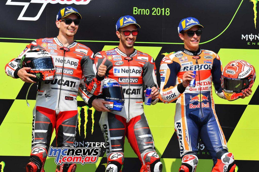MotoGP Brno Rnd Michelin Podium Dovi Lorenzo Marquez