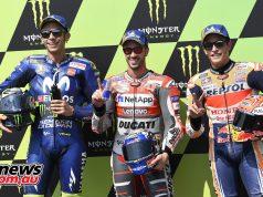 MotoGP Rnd Brno QP Trio Dovizioso Rossi Marquez