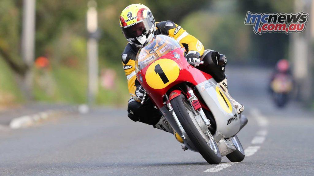 Ian Lougher (500 MV Agusta/John Chapman Racing) at Douglas Road Corner, Kirk Michael - Image by Dave Kneen