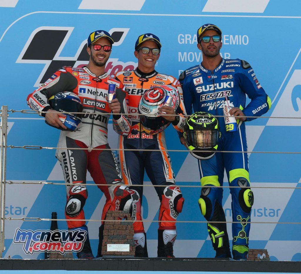 MotoGP Aragon MotoGP Podium Marquez Dovizioso Iannone