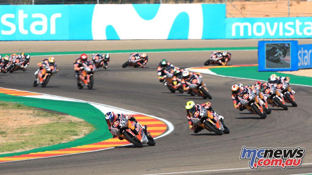 Red Bull Rookies MotoGP Cup Aragon Rnd Deniz Oncu leads