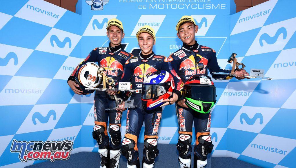 Red Bull Rookies MotoGP Cup Aragon Rnd Xavier Artigas Deniz Oncu Ryusei Yamanaka