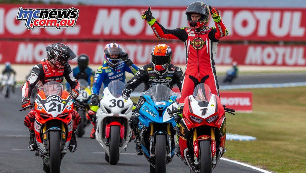 MotoGP ASBK Supports TBG Superbike Race Herfoss Win