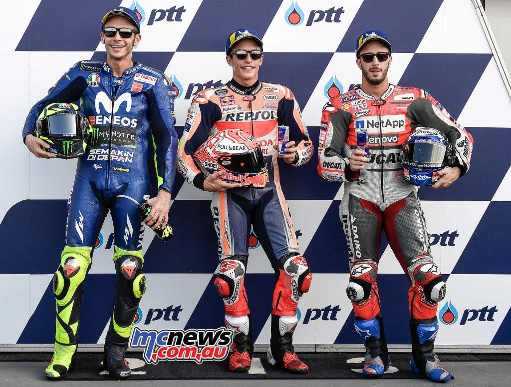 MotoGP Thailand QP MotoGP Trio Marquez Rossi Dovizioso