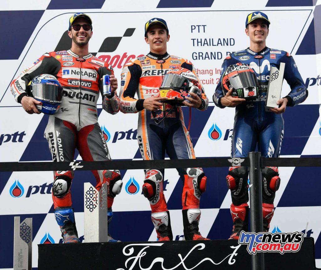 MotogGP Rnd Thailand Podium MotoGP Marquez Dovizioso Vinales