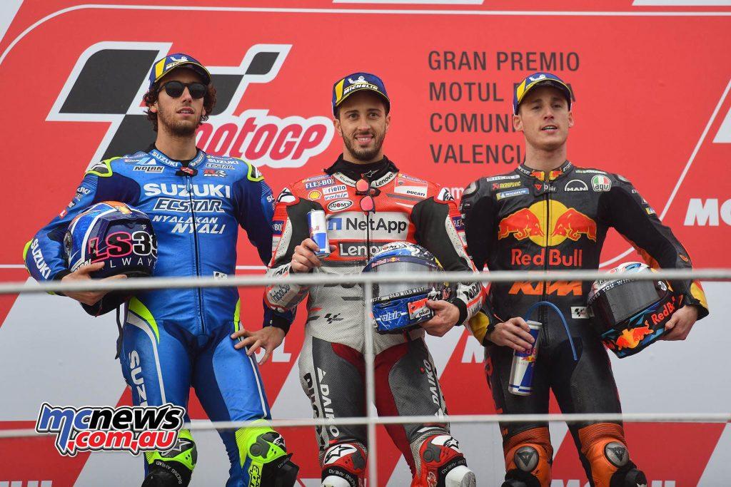 ModiGP Valencia Michelin Podium Dovizioso Rinsio Espargaro