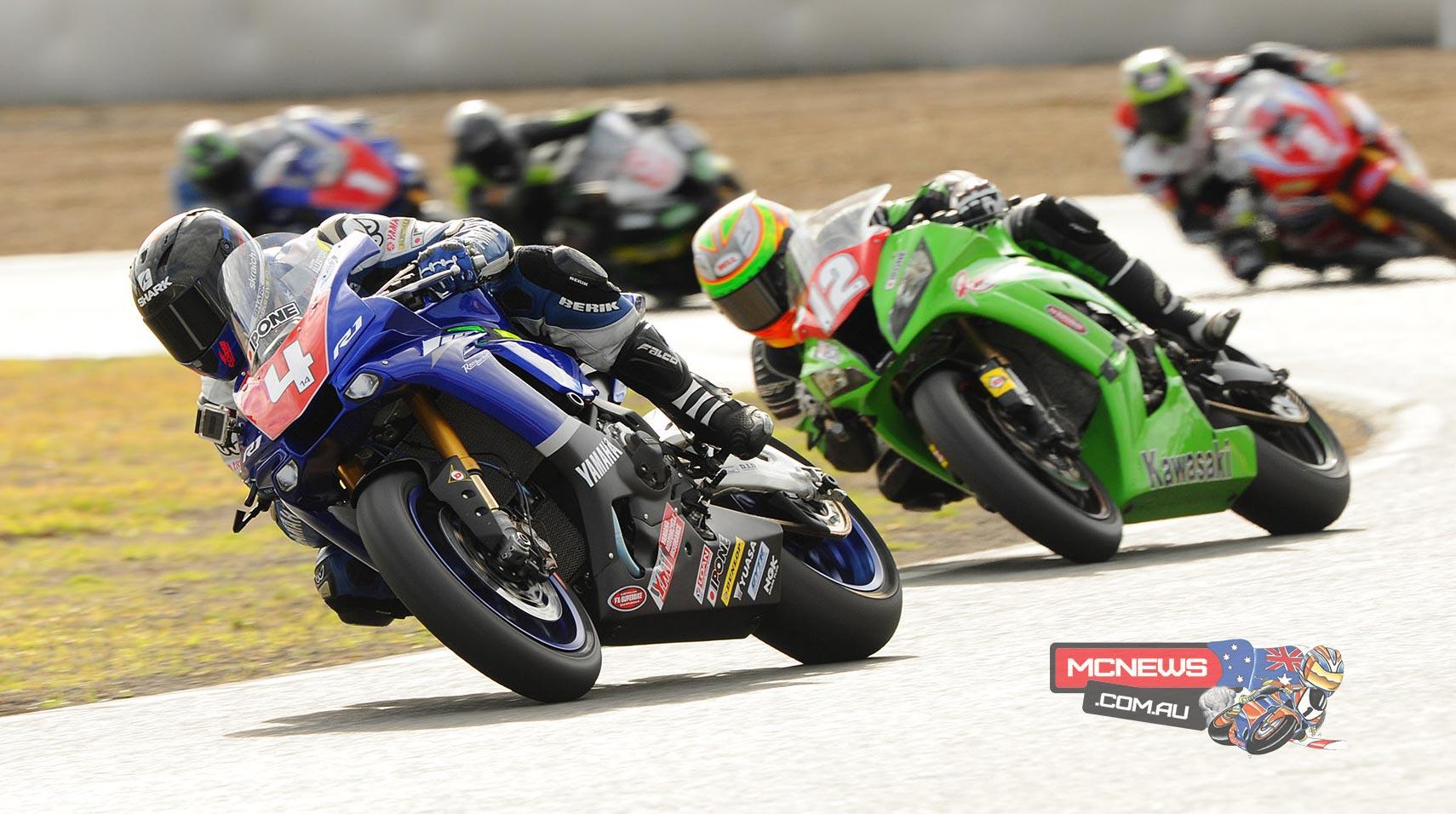 Glenn Allerton leads Matt Walters and Troy Herfoss at Queensland Raceway