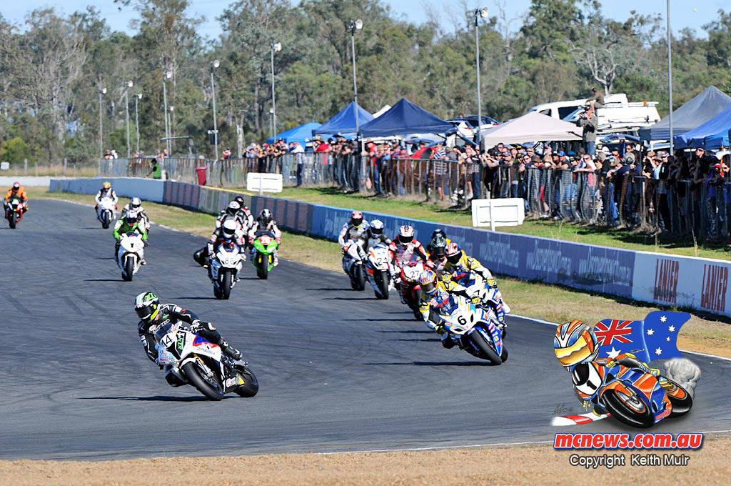 Glen Allerton leads at QLD Raceway ASBK 2013