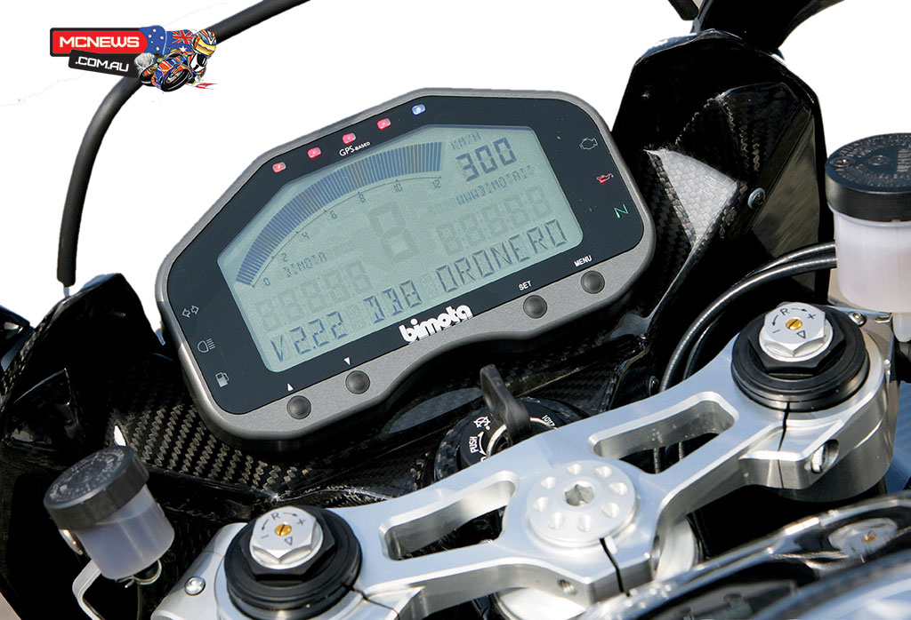 A fully digitised dash incorporates full data logging facilities graphed against internally recorded GPS coordinates