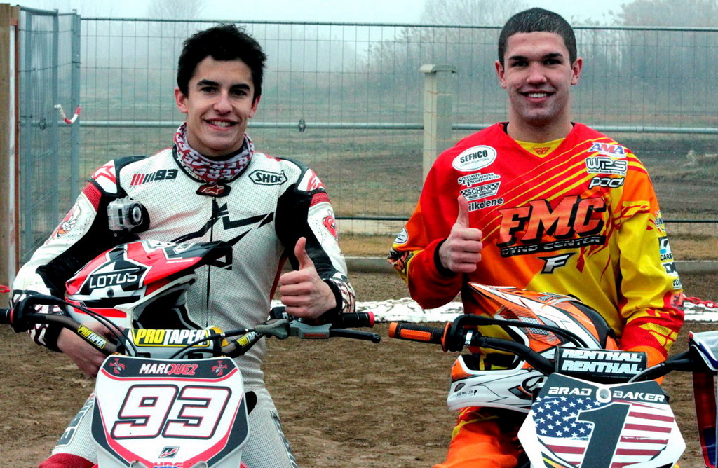 Marc Marquez and Brad Baker pictured before the event