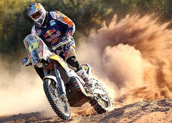 """Faria: """"Today was a good day for me. In the beginning there was a lot of dust. I started one minute behind Ben Grabham and I rode behind him for 300 km but in the end it was a good stage. I finished fourth and that is good for the overall and the KTM bike is amazing. It's only the second day but I am happy to be here."""""""