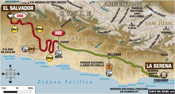Tomorrow's Stage - El Salvador – La Serena - Liaison: 349 km  Special: 350 km  Total: 699 km