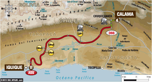 TOMORROW'S STAGE - Tuesday, January 14 - Stage 9: Calama - Iquique - Liasion: 29 km - Special: 422 km - Total: 451 km
