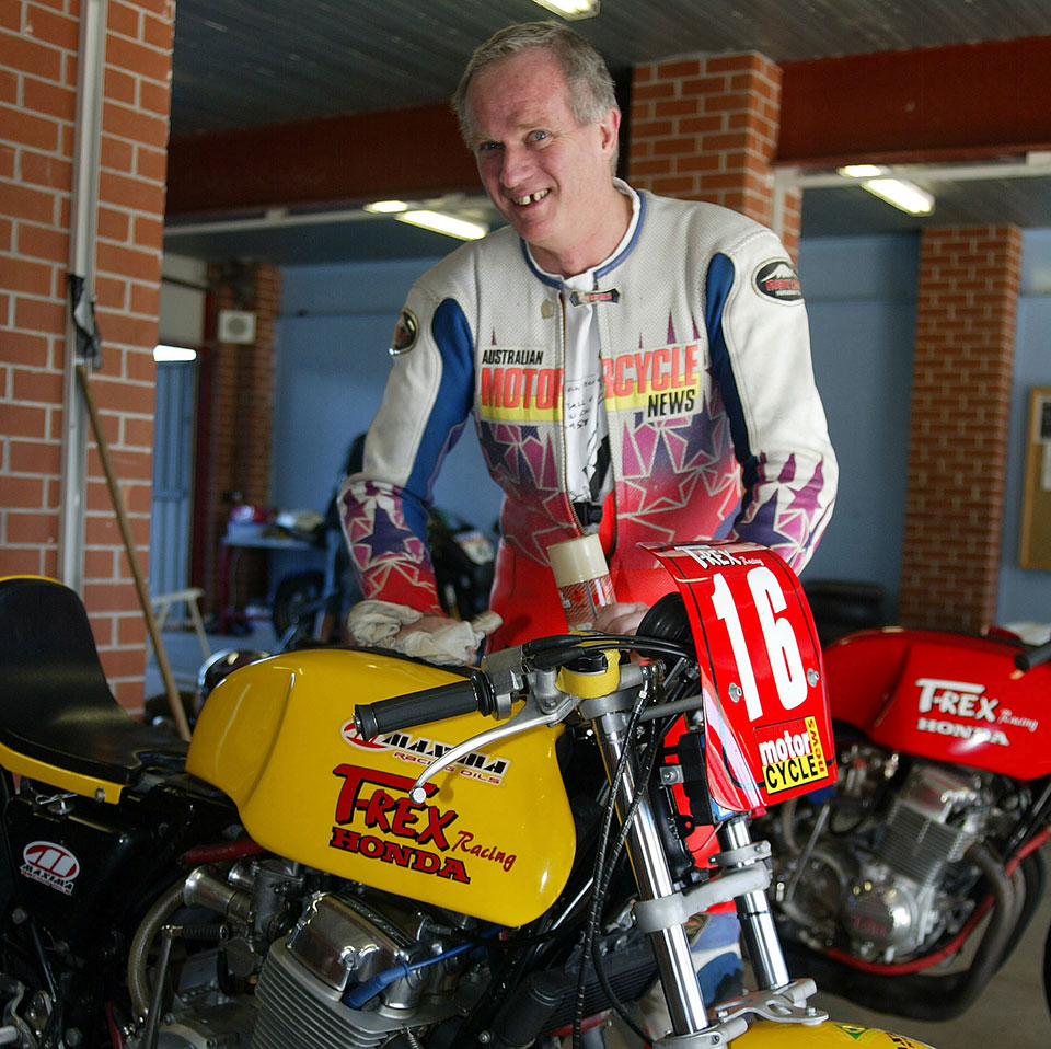 Ken Wootton and his beloved T-REX Honda - Ken was instrumental in helping to build up the Island Classic towards what it is today