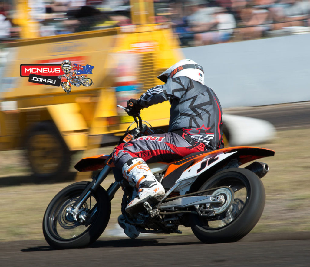 """KTM Australia GM Jeff Leisk enjoyed the event immensely. """"The event had a great buzz to it and lots of spectators, riders and lots of racing action.  """"I think my last race was a pony express I did three years ago, but I was happy with how I rode,"""" said Leisk. """"I got a few starts, was generally up the pointy end and enjoyed it. I felt a bit more comfortable racing with people that I knew – they're not quite as desperate as the young fellers!""""  """"It was exciting to see Jason win the legends class and Toby Price on the 350 went really well. He won a few races against top quality competition and even got as few holeshots on the little 350 which was a credit to him and the bike.  """"It was great to see so many KTMs competing well there in what is, I'd say for the dirt track fraternity, the jewel in the crown."""""""