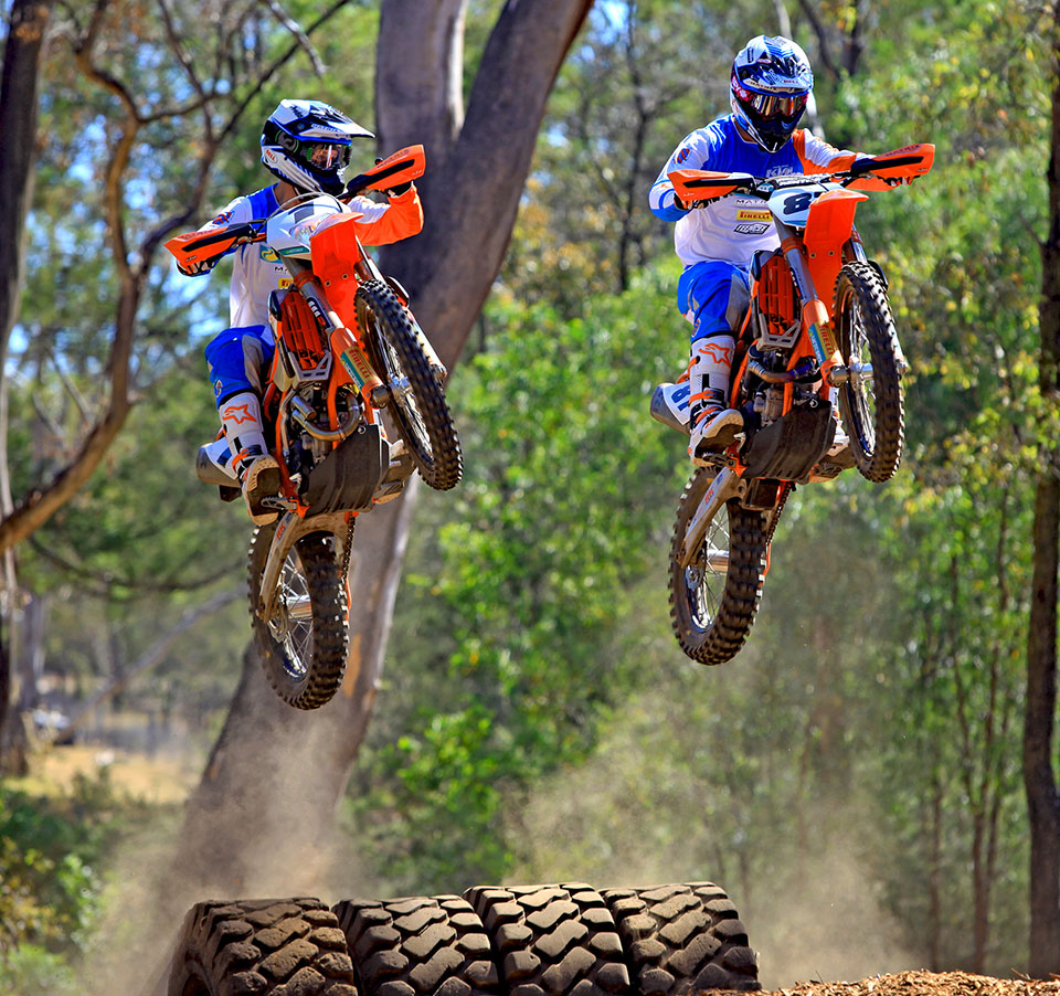 Peter Boyle (left) and Toby Price (right) are looking forward to the first round of the brand new KTM Enduro-X series this Sunday in Brisbane. New recruit Boyle (below), as the current Melbourne Enduro-X champion, will carry the number one plate into the inaugural series. Pics: Adam Riemann