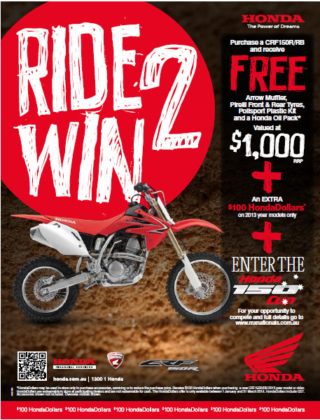 RIDE TO WIN ON HONDA'S CRF150R/RB IN THE NEW HONDA 150 CUP