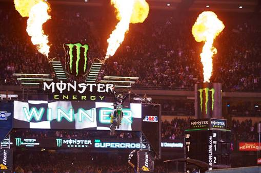 Reed's first win aboard a Kawasaki also made him the first rider in Monster Energy Supercross history to win a 450SX Class Main Event for four different manufacturers (Yamaha, Suzuki, Honda, Kawasaki).