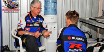 PTR pits at MotoGP Supports. PTR boss Phil Tainton discusses set-up with Wayne Maxwell, 2013 ASBK Champion.