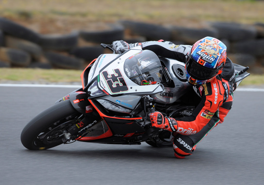 """Marco Melandri: """"That was an incredible Superpole. After my crash in the test sessions the guys did an exceptional job fixing my RSV4. I had lost my feeling with it a little bit and before Superpole I admitted to my crew chief that I'd be happy if I made it into the top six. In all actuality I found a good feeling with the race tyre straight away and I put in an excellent lap, but with the qualifier I tried to push but I was struggling too much and went wide in Siberia. I'm happy to be here. Starting from the front will be fundamental tomorrow. I have a good race pace but it will be a battle with at least five other riders""""."""
