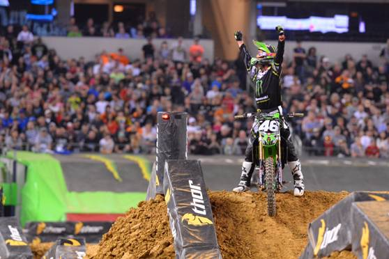 Adam Cianciarulo celebrates the first 250SX Class win of his career - Photo credit: Simon Cudby