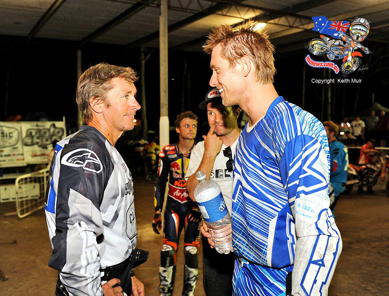 Troy Herfoss with Troy Bayliss. They finished 1-2 at the recent star studded Troy Bayliss Classic Dirt Track event.