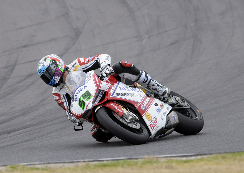 """Niccolò Canepa: """"This morning's qualifying session went well, so much so that i was able to improve on my best time set during testing and I qualified directly for Superpole 2. Unfortunately, in the Superpole we had a problem with the qualifying tyre; I didn't have a good feeling with it and through the last turn it gave up on me and I risked crashing. It was a pity because I could have improved and perhaps started from one row in front. I'm satisfied anyway because I'm nevertheless the first Evo rider and together with my team we have found good race pace that should allow us to be there with the Superbike guys tomorrow. I'm confident."""""""