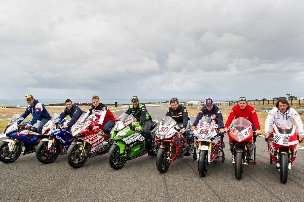 Eight marques on the world superbike grid for 2014..r to l.BMW, Suzuki, Ducati, Kawasaki, Aprilia, Honda, MV Agusta, Buell