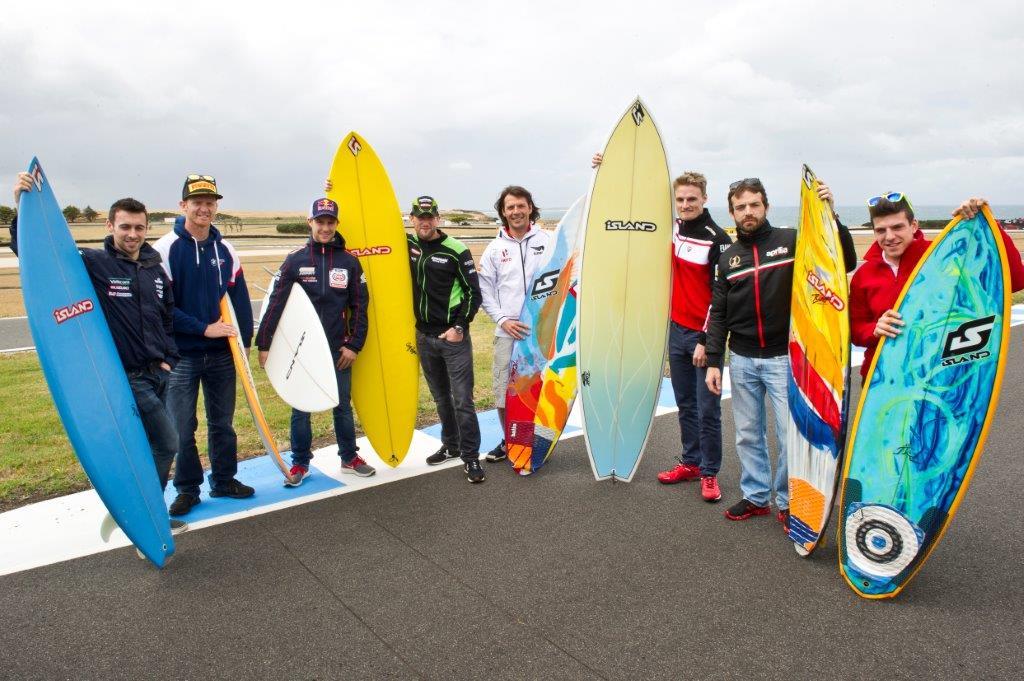 Let's go surfing..l to r..Laverty, Allerton, Rea, Sykes, Yates, davies, Guintoli, MV Agusta