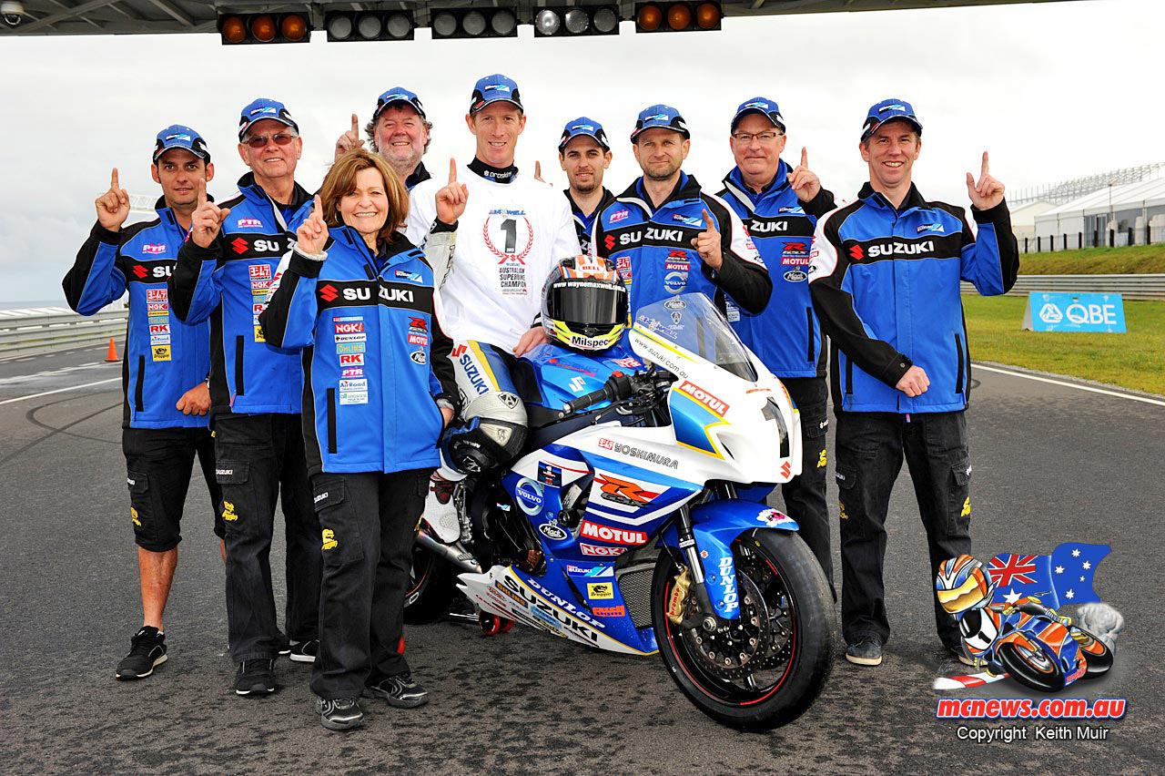 Wayne Maxwell won the 2013 ASBK Superbike Championship when he rode for Suzuki.
