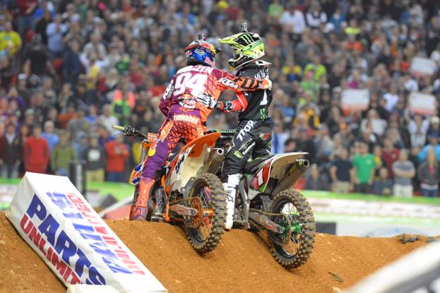 Roczen and Villopoto Celebrate after the 450SX Class Main Event - Photo Credit: Simon Cudby