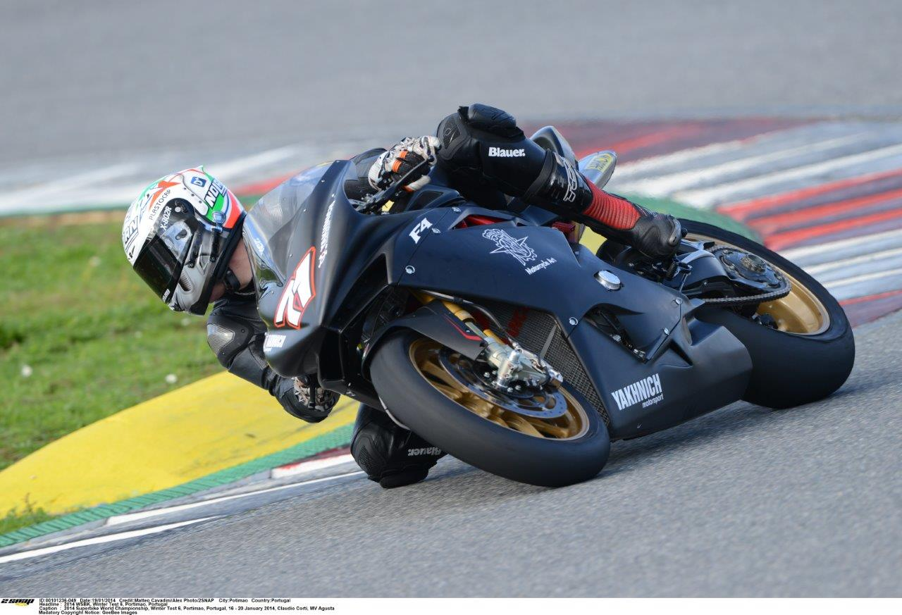 Claudio Corti testing the MV Agusta WSBK
