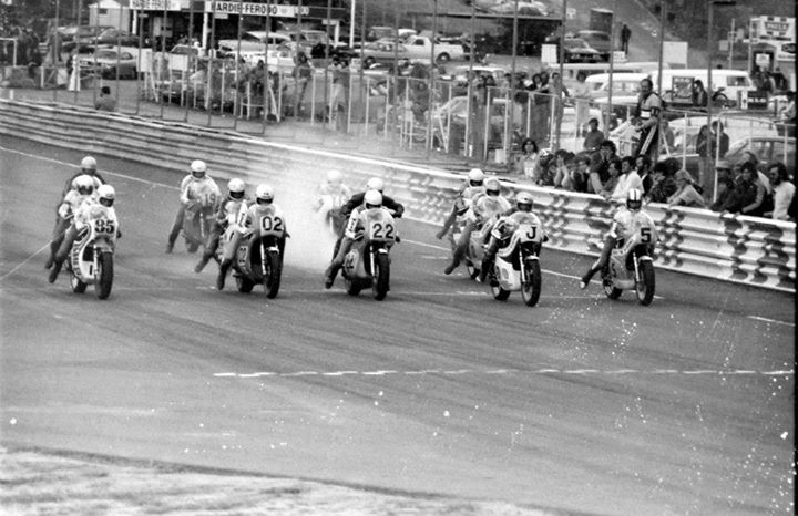 Start of Unlimited Race at Amaroo Park, 1976. L to R; Warren Willing, Gregg Hansford, Murray Sayle, John Woodley, Greg Johnson.