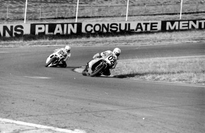 Gregg Hansford and Warren Willing during their epic dice at Oran Park, 1976.