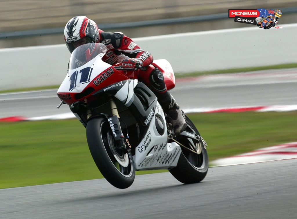Kevin Curtain in full flight in World Supersport on Yamaha YZF-R6