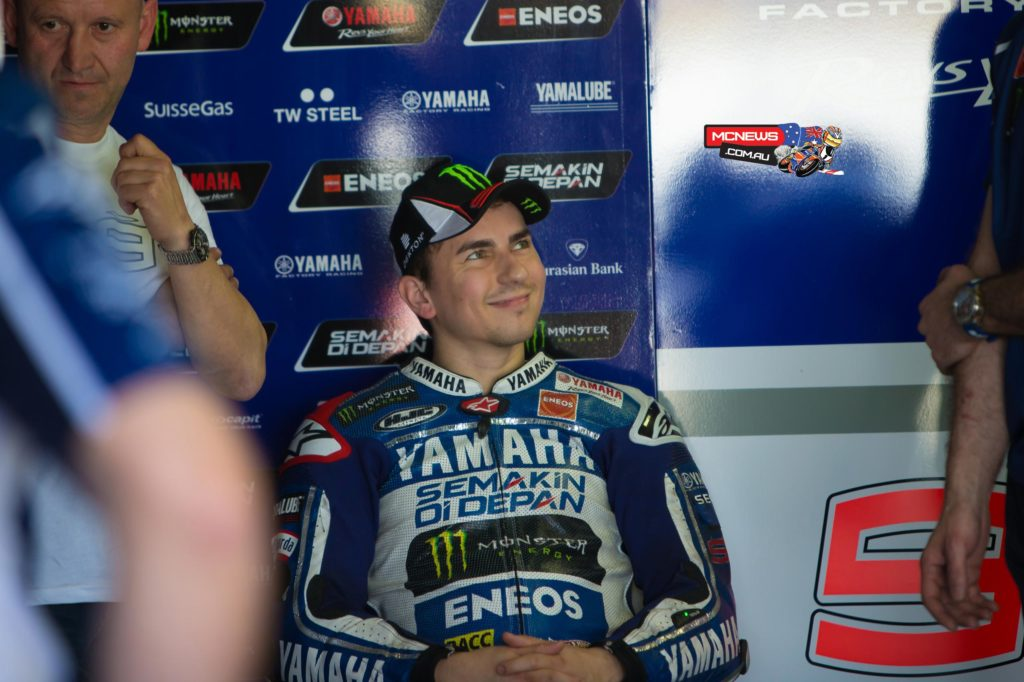 Jorge Lorenzo pictured in the pits this morning. Jorge the only man to go under 1m30s this morning.